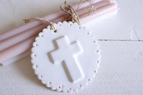 Décoration croix céramique blanche