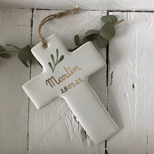 Croix céramique taille 2 à personnaliser feuillage/prénom