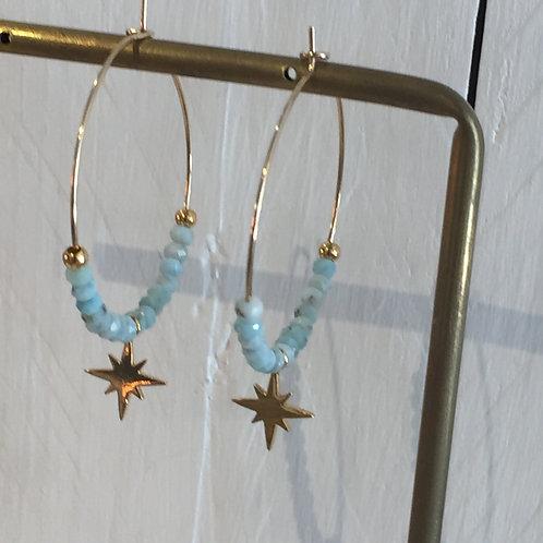 Créoles perles naturelles de Larimar