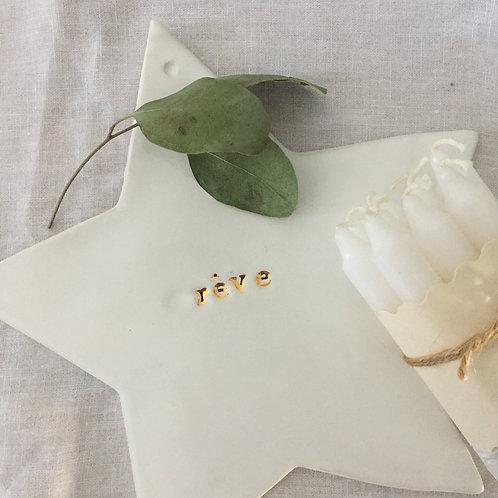 """Grande étoile céramique blanche """"rêve""""or"""