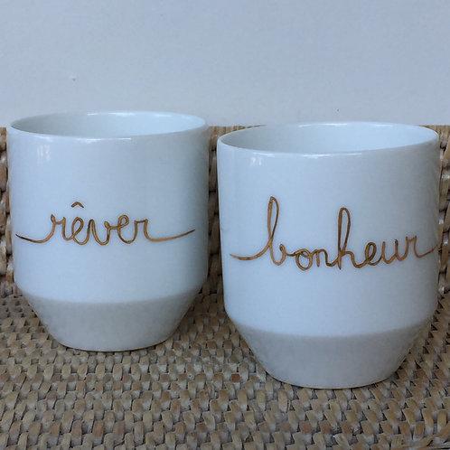 """Duo de tasses à café """"rêver"""" et """"bonheur"""""""