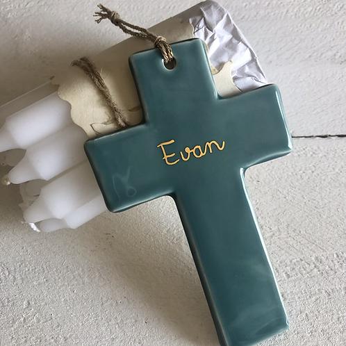Croix céramique taille 2 vert de gris à personnaliser
