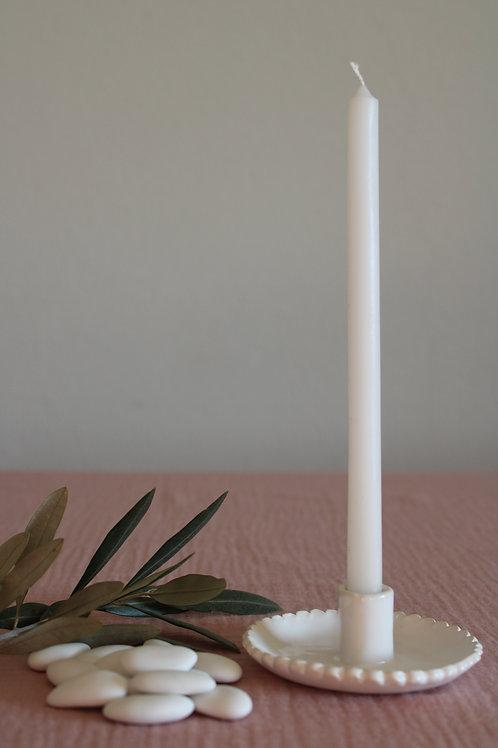 Petit bougeoir en céramique blanc