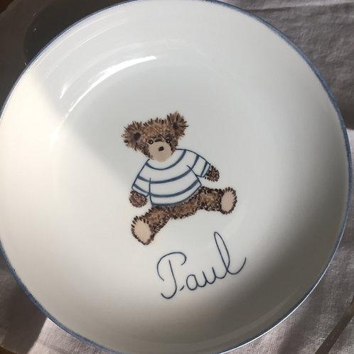 """Assiette bébé ourson """"marin'"""