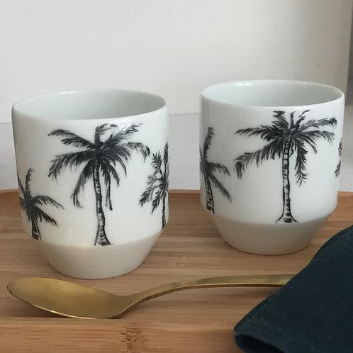 """Duo tasses à café """" palmiers"""""""