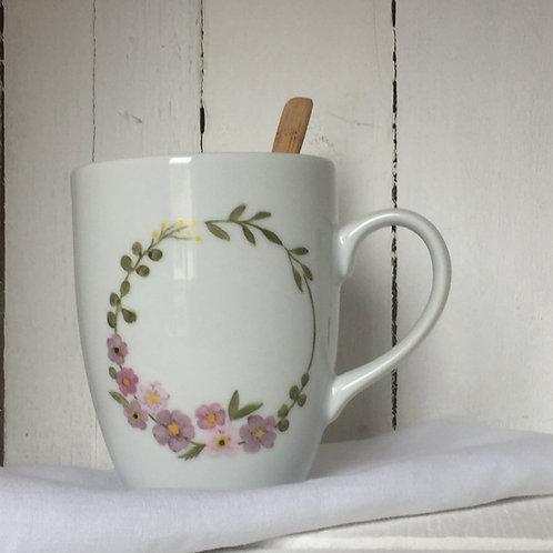"""Mug couronne fleurs"""" à personnaliser"""""""