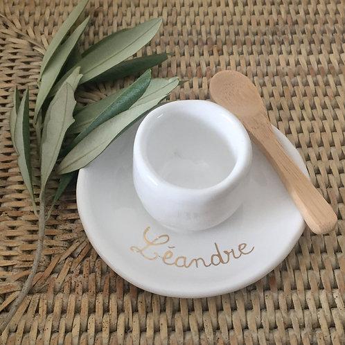 Coquetier céramique blanc à personnaliser or