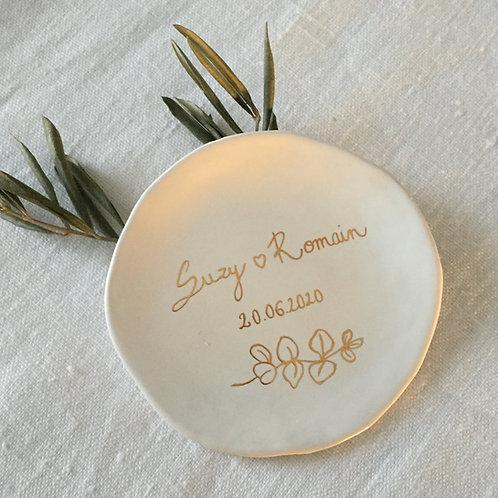 """Coupelle céramique à personnaliser"""" Feuillages or"""""""
