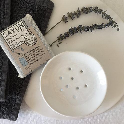 porte savon rond en céramique blanche