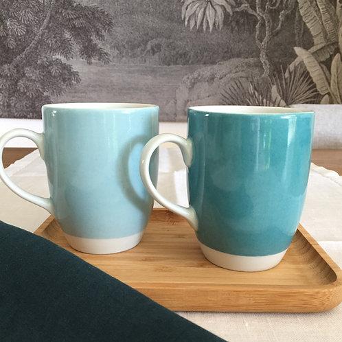 Duo mugs canard/vert d'eau
