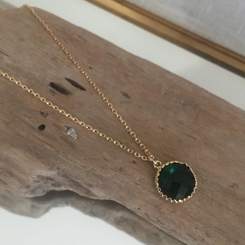 Collier pendentif rond vert foncé