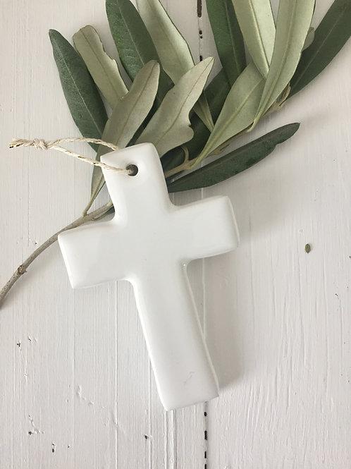 Croix céramique blanche taille 1