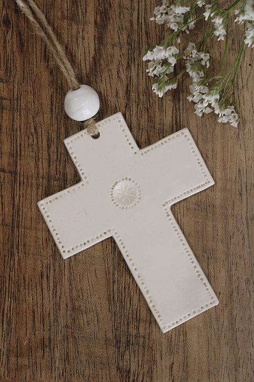 Croix en céramique naturelle