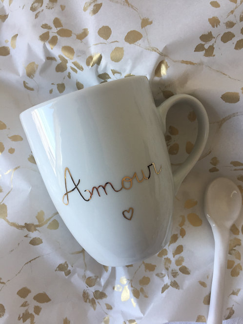 Mug porcelaine à personnaliser écriture or