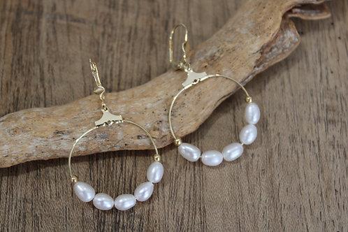Boucles d'oreilles perles de nacre d'eau douce