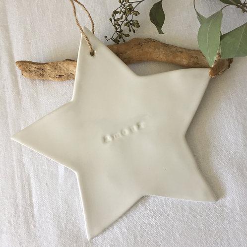 """Grande étoile céramique blanche """"amour"""""""