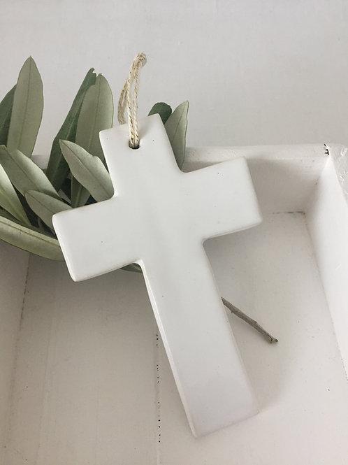 Croix céramique blanche taille 2