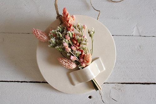 Support déco en céramique naturel fleurs séchées