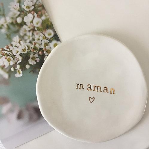 """Coupelle céramique message """"maman mini coeur"""" or"""