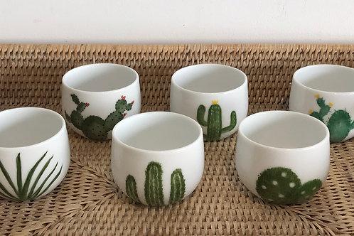 """Ensemble Tasses à café """" cactus"""""""