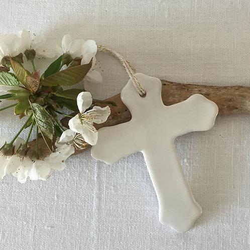 Croix Trilobée  céramique blanche