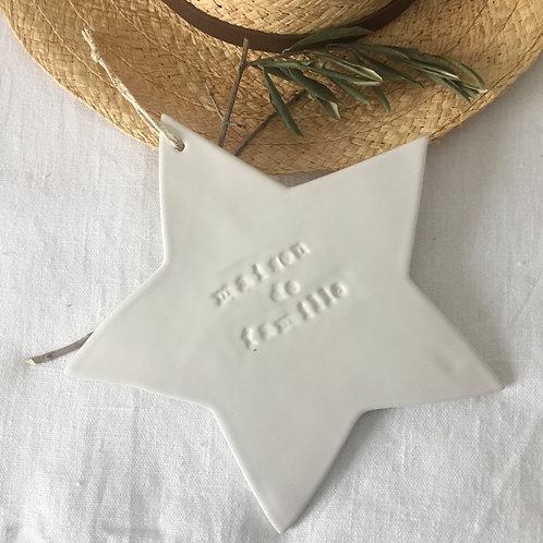 """Grande étoile céramique blanche""""Maison de Famille"""""""