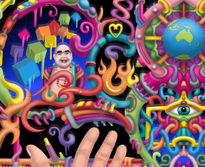 DMT Art - Spirit molecule psychedelic art by Ayjay