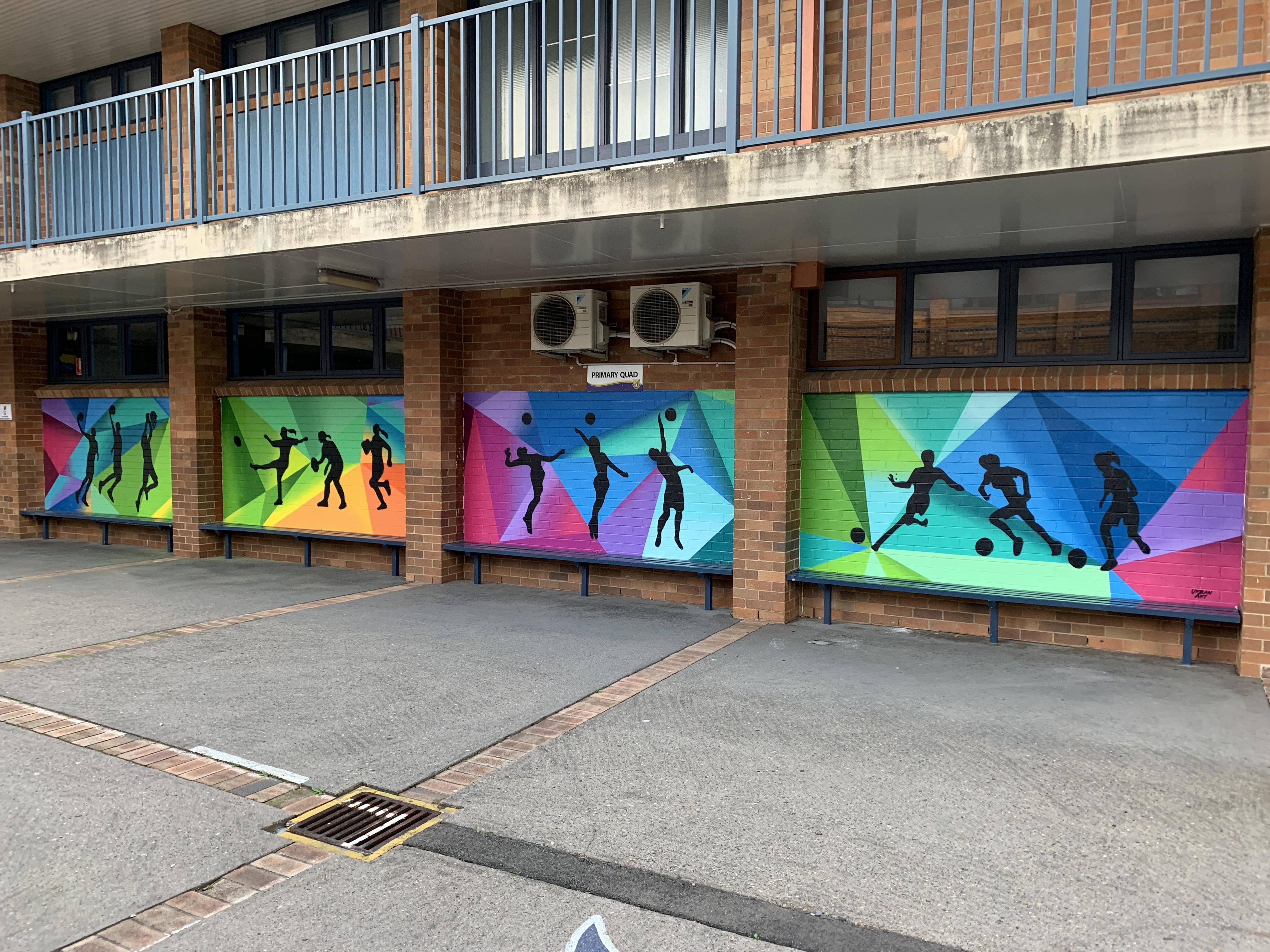 School Sport Graffiti Art Mural