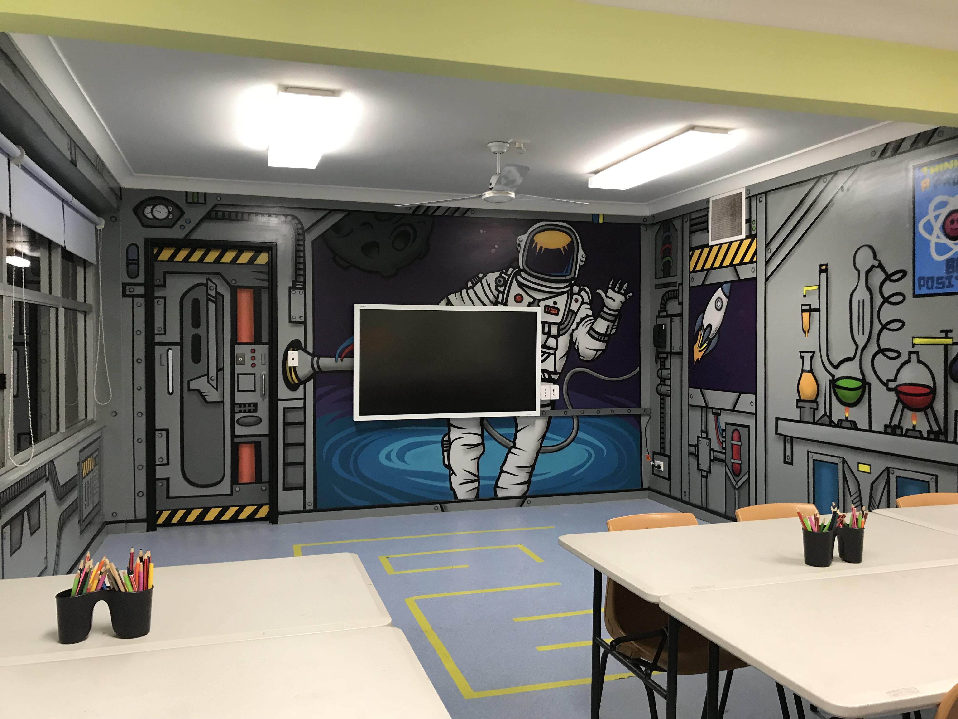 Classroom mural artwork for kids