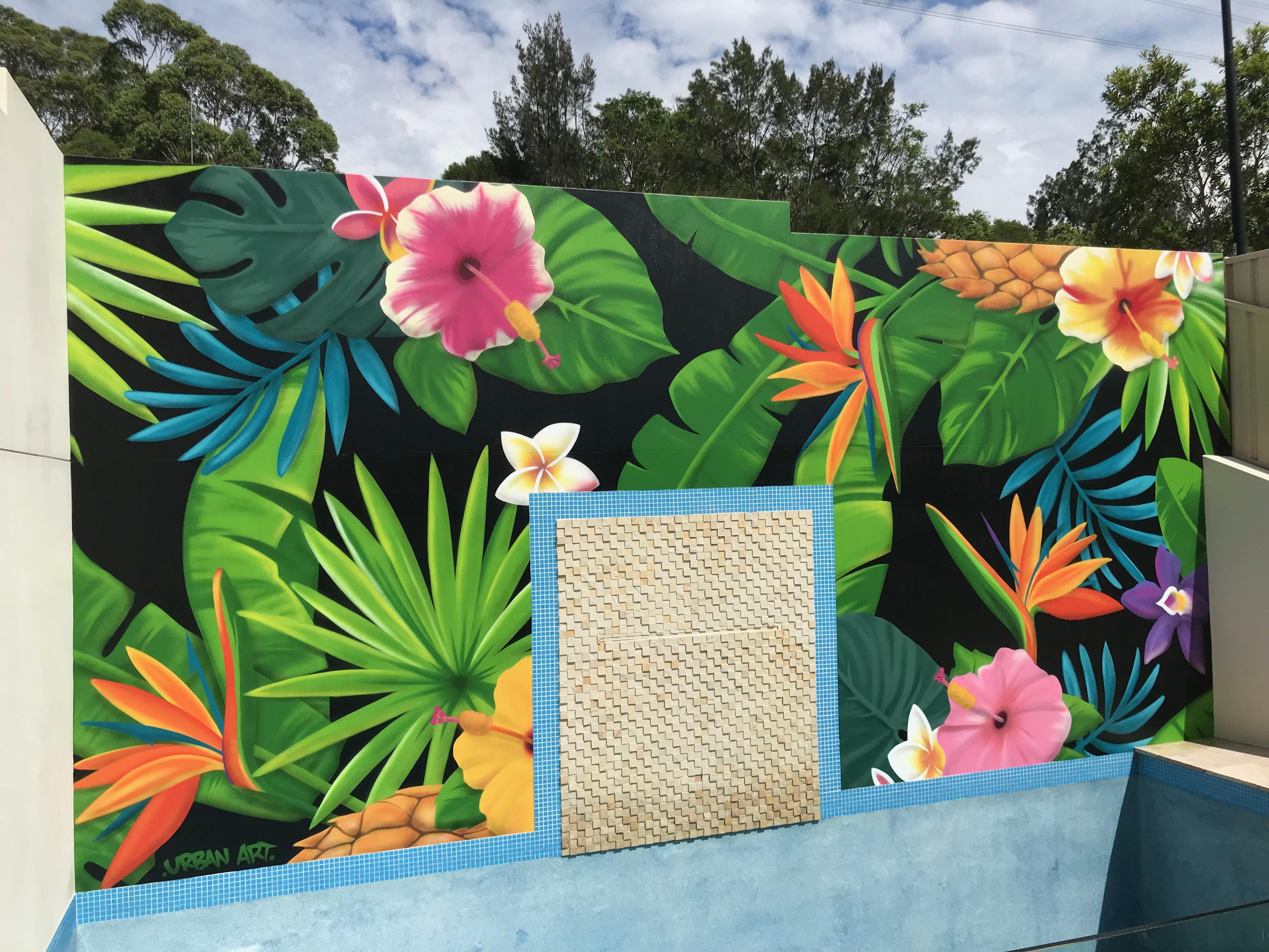 Tropical flowers pool area mural art
