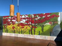 Landscape graffiti art mural