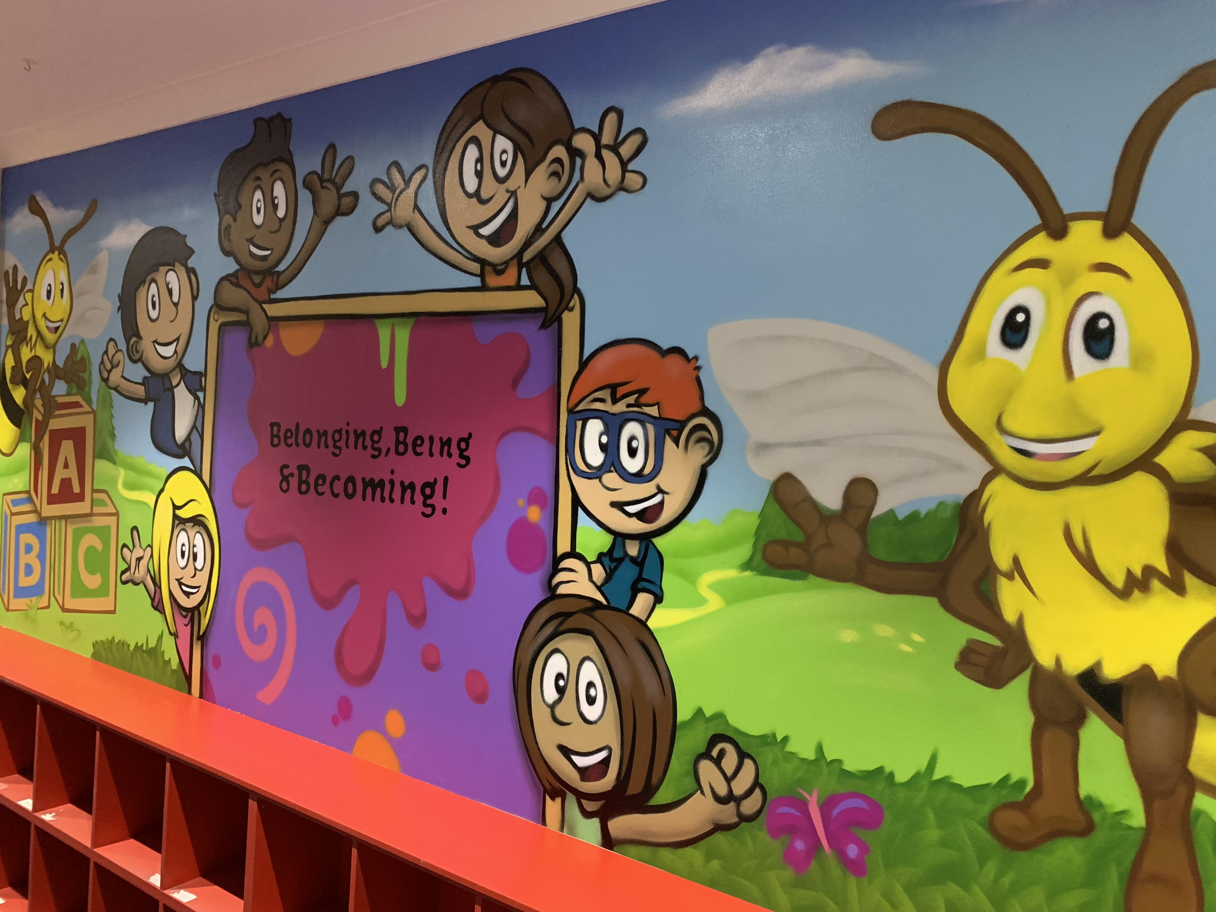 Cartoon Children mural art