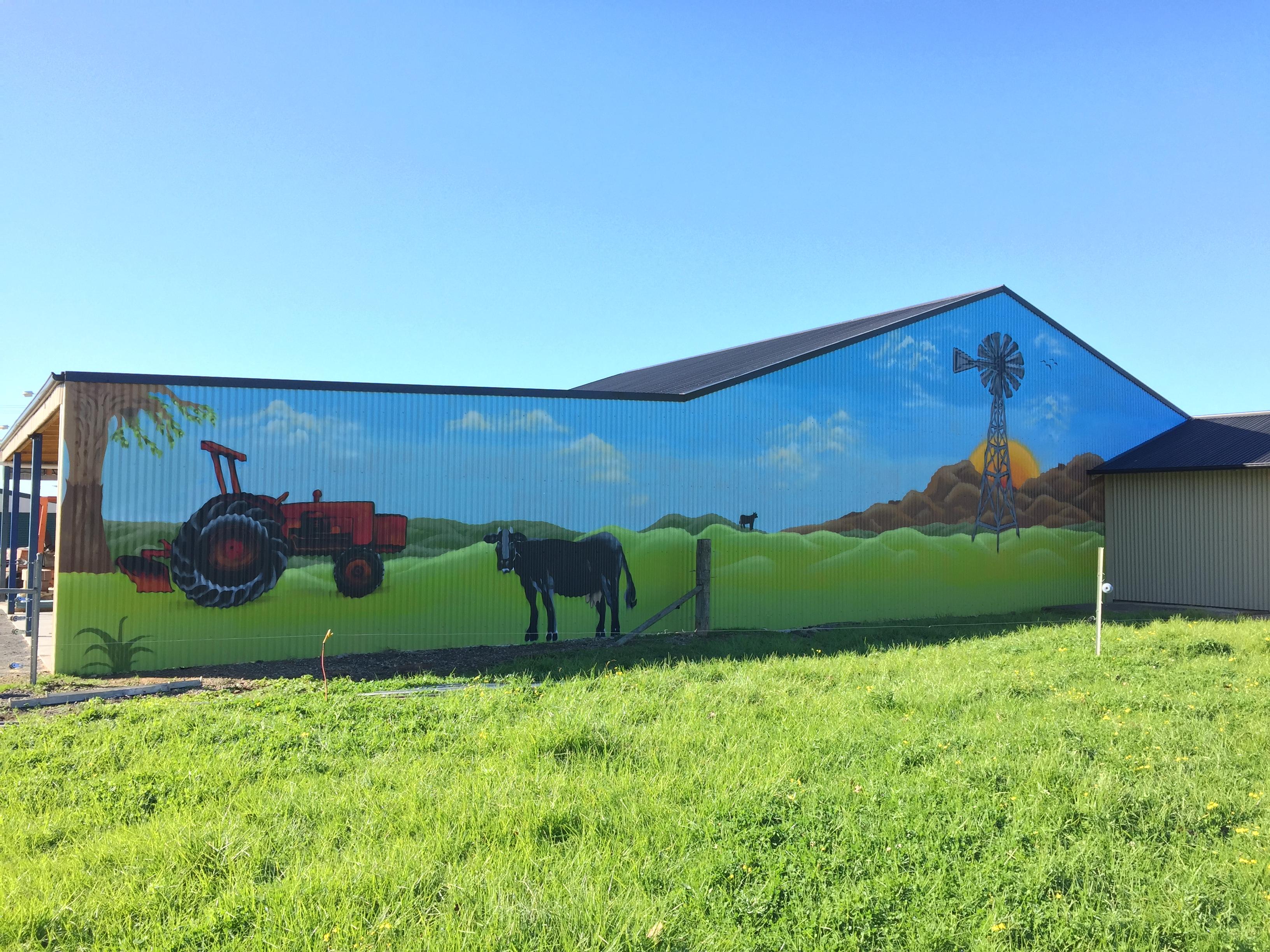 huge farm mural on shed