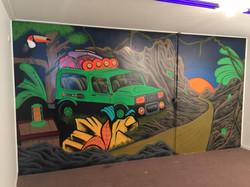 Jeep jungle mural art for kids