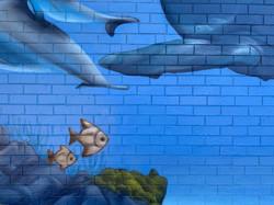 Underwater fish mural art