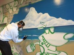 Street artist in action at westfield