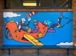 Dr Seuss school wall art graffiti