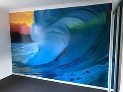Breaking wave mural art in bedroom
