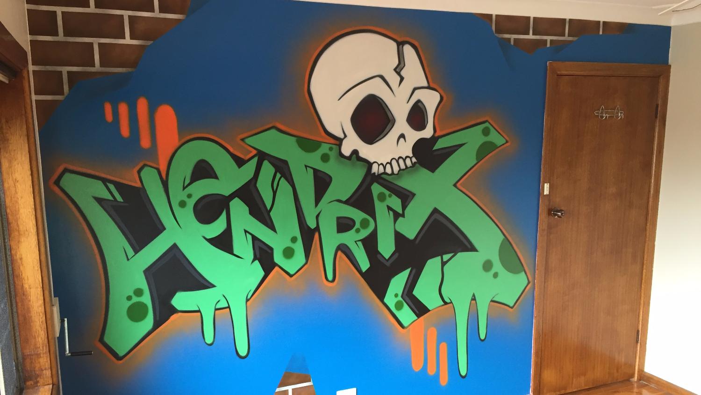 kids graffiti bedroom mural art