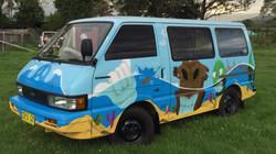 Underwater themed mural on van
