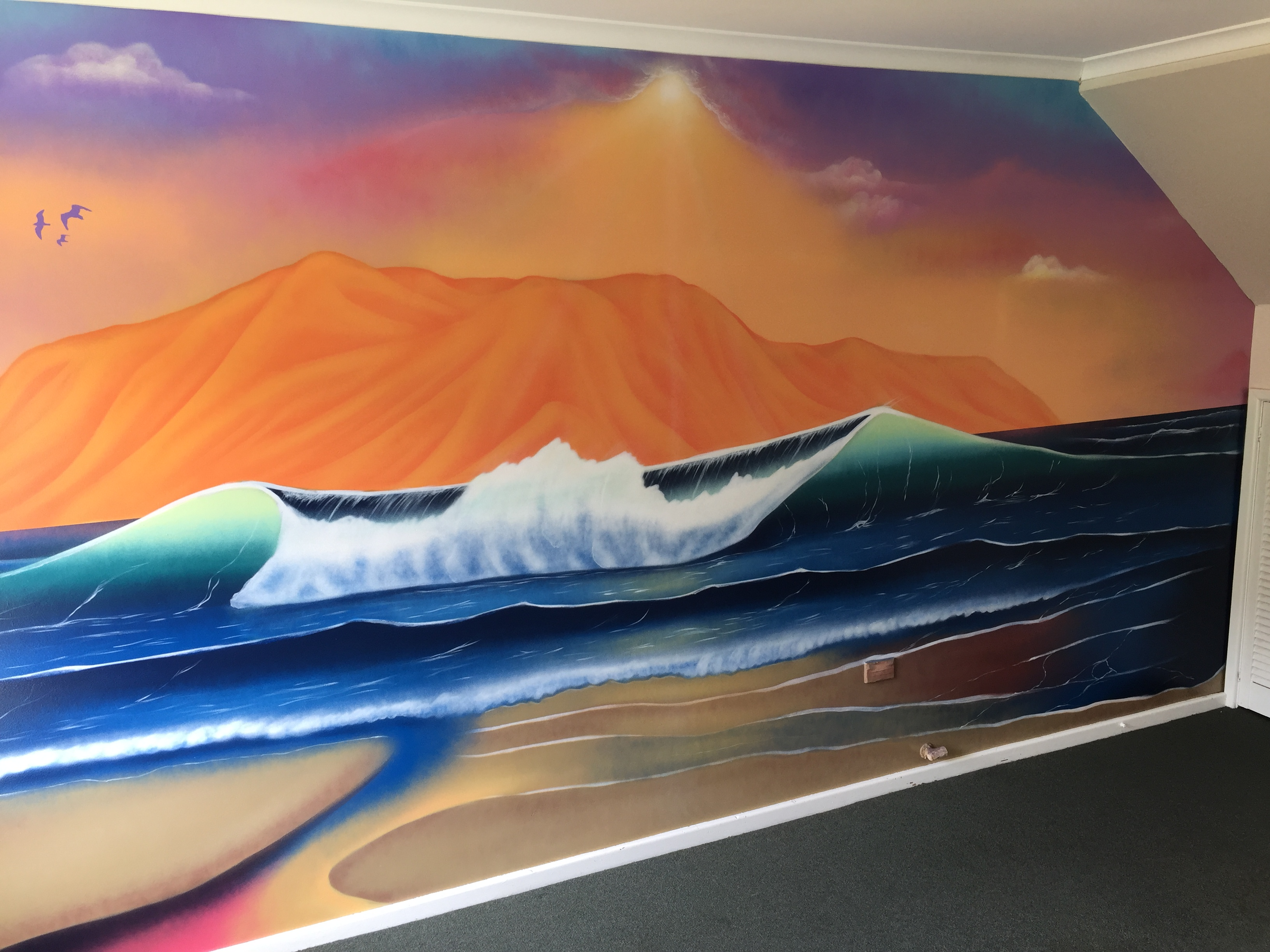 mural of beautiful seascape ocean