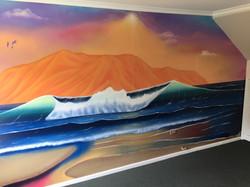 mural of beautiful seascape ocean