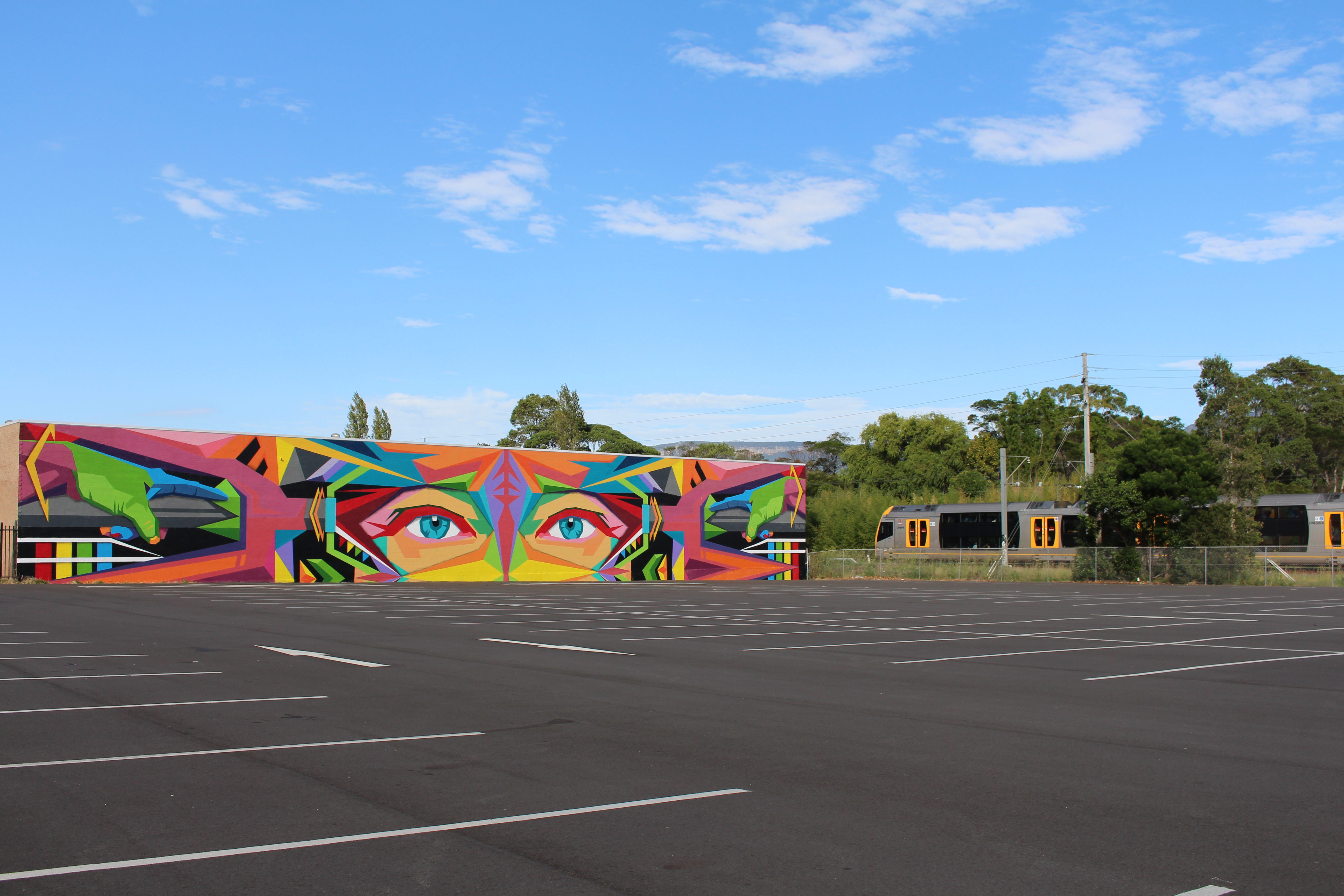 Ayjay's large scale mural in Dapto
