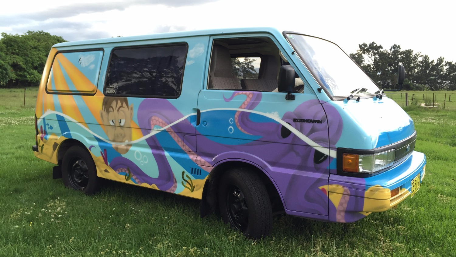 Completed surf mural van