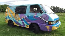 Completed surf mural van