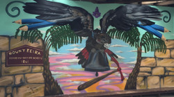 sunset and bird mural art for school