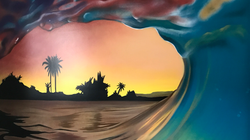 Close up of wave mural at sunrise