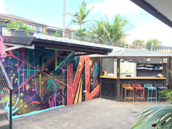 abstract art painted in outdoor bar