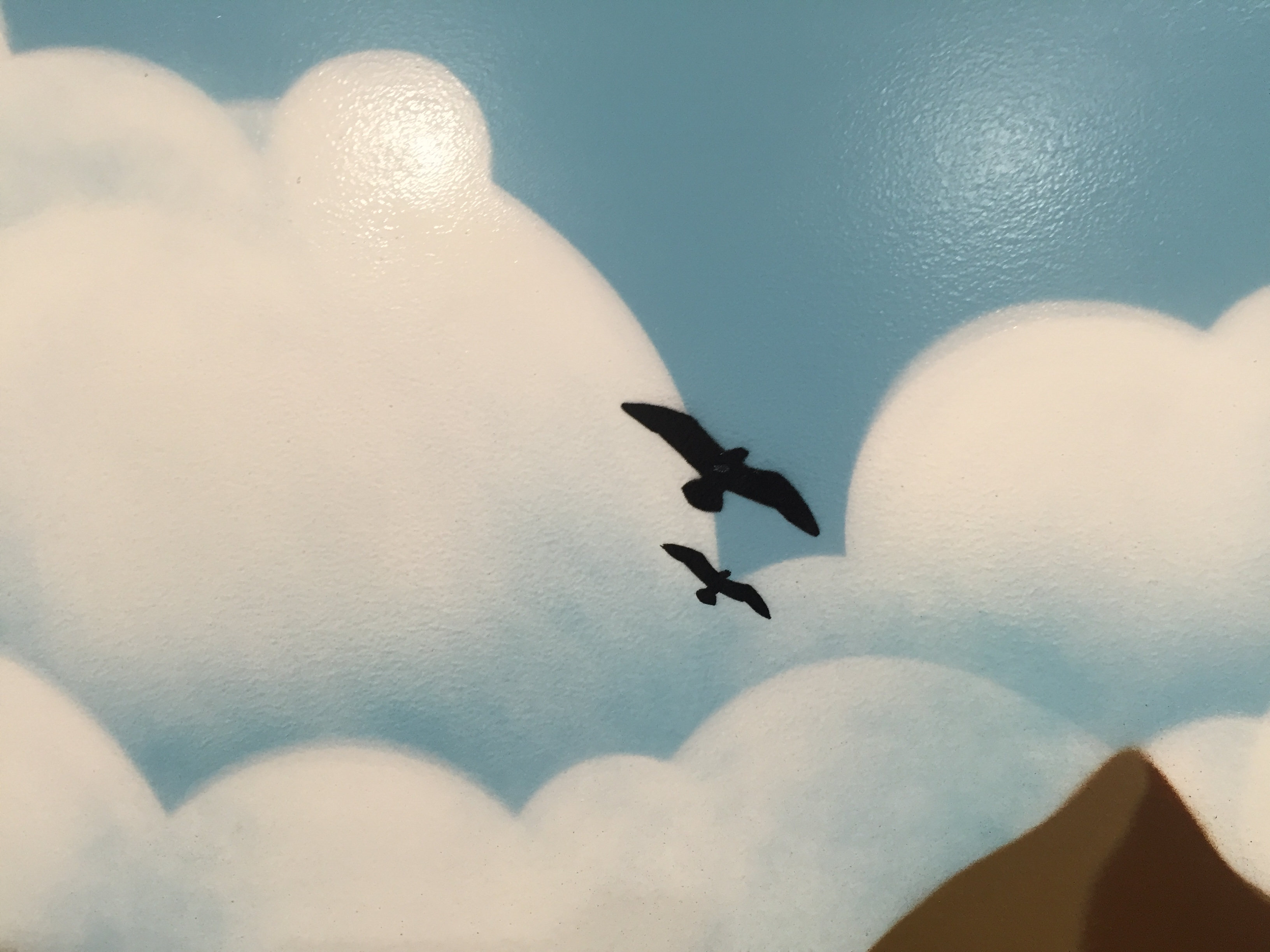 Close up or birds on mural