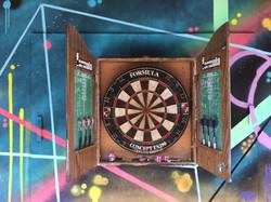 Abstract mural art dart board